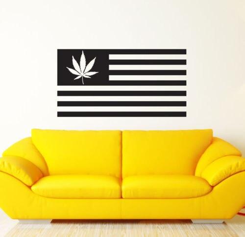 High Quality Vinyl Wall Art Decals Sticker Home Decor Leaf Weed USA ...