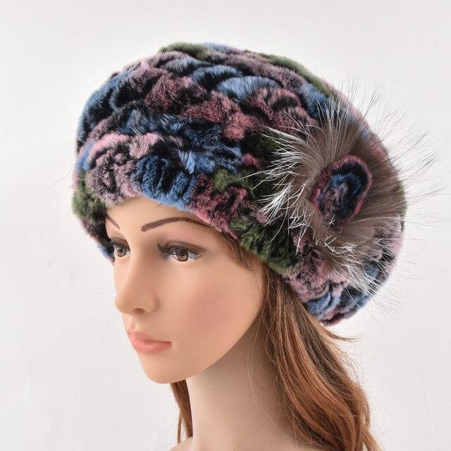 93816f08ef Moda kobiety czapki zimowe ciepłe miękkie naturalne Rex królik futro kobiet  czapka oryginalne futro czapki