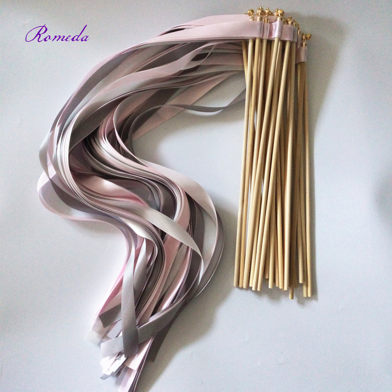 new arrived 3 ribbon pink grey white wedding ribbon wands stick with gold bells streamers birthday