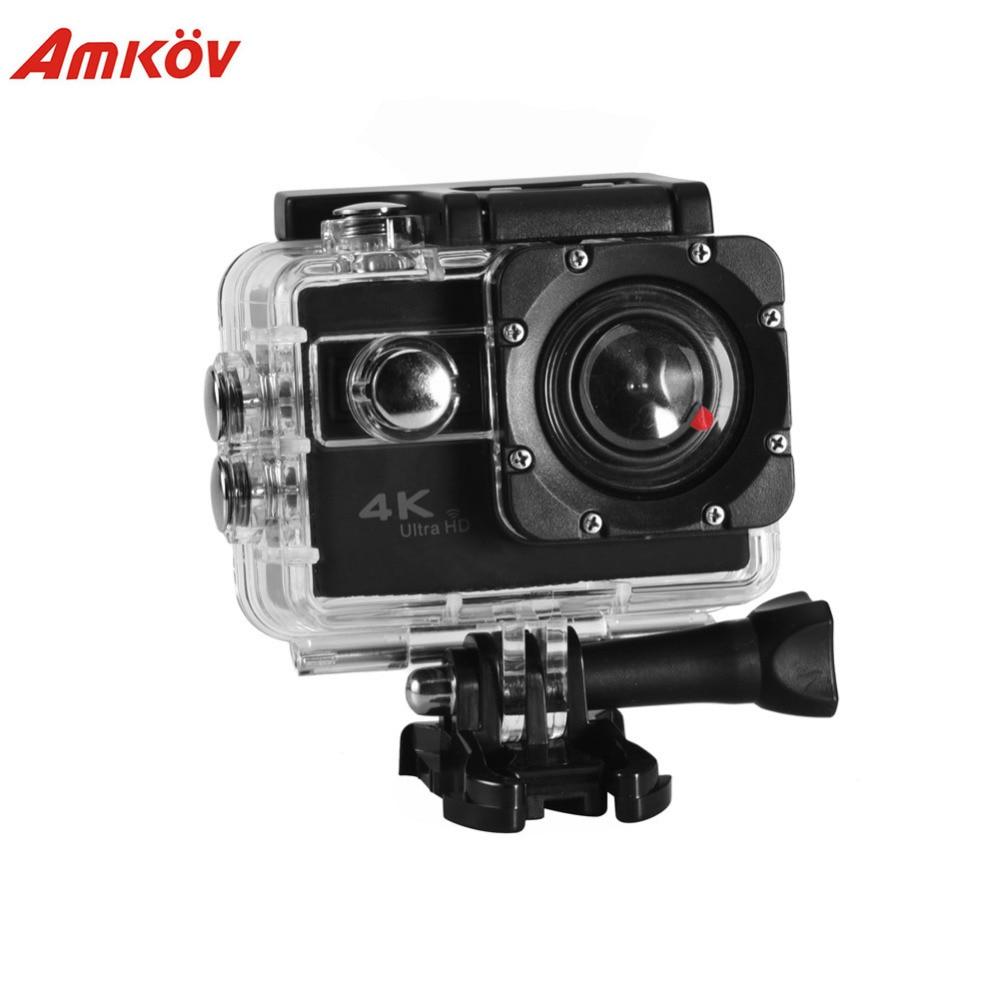 AMKOV Mini DV Wifi caméra d'action caméra 4 K 2 ''grand Angle et 6 lentilles en verre Support SD télécommande avec boîtier étanche