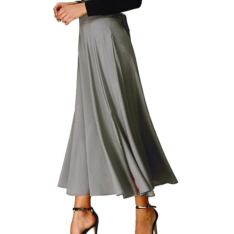 jack smith 2018 summer skirt Ladies Women High Waist Pleated A Line Long Skirt Front Slit Belted Maxi Skirt saia
