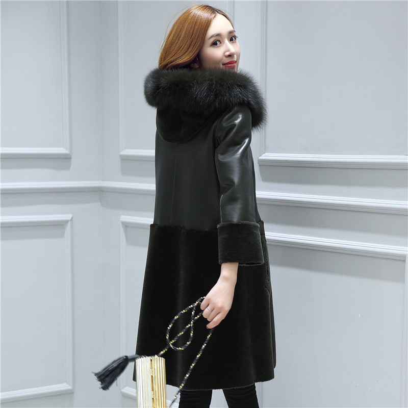 Female Winter Clothing Women Genuine Leather Lamb Fur Coat with Fox Fur Collar Maternity Clothes