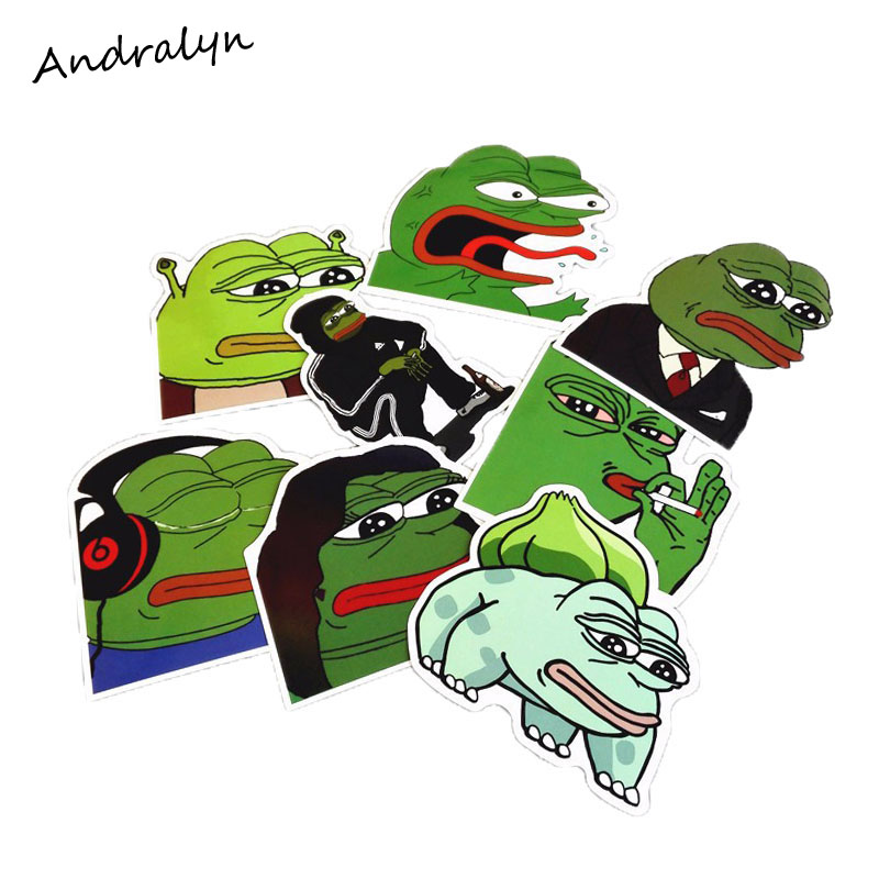 8Pcs//Lot Sad Frog Funny Sticker Car Laptop Luggage Bike Decal Toy Sticker Lable