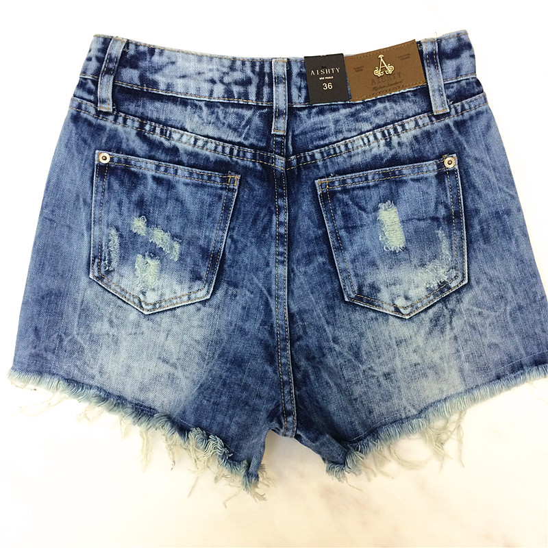 2014 Destroyed Dirty Ripped Distress Jeans-Shorts mit hoher Taille - Damenbekleidung - Foto 2