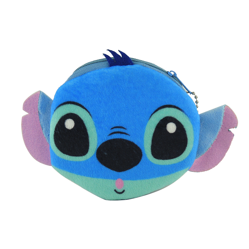 XYDYY New Women Kids Coin Purses Cartoon Stitch Series Printed Coin Purse Plush Small Storage Change Wallet Pouch Zipper Handbag