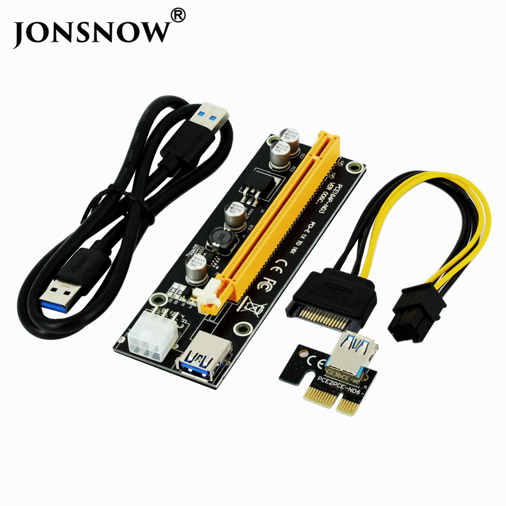 JONSNOW 006C PCIe PCI-E PCI Express Riser Card 1x to 16x SATA to 6Pin IDE Molex Power Supply for BTC ETH Litecoin Miner Machine