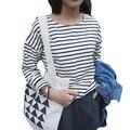 Новый 2015 весной мода женская футболка основные корейской полосатый с длинными рукавами , майка - футболку blusas роковой Mujer BH475