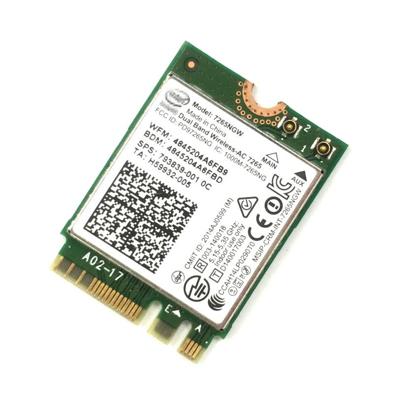 7265NGW Intel Dual Band Wireless-AC 7265 802.11ac, Dual Band, 2x2 Wi-Fi + Bluetooth 4.0 NGFF M.2 WLAN WIFI Card intel 7260 цена 2017