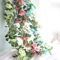 Ложным цветок длинные ротанга роза имитация листьев моделирования цветок микро-пейзаж. свадьбы, дома, кондиционер украшения