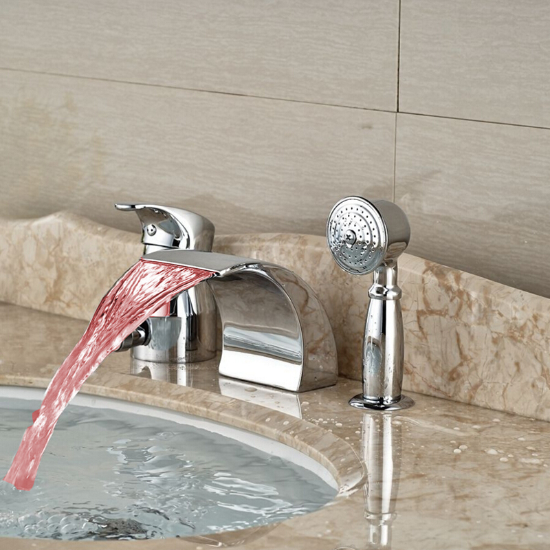 LED Waterfall Spout Chrome Bathroom Sink Faucet Tub Sink Mixer Tap Hand Shower