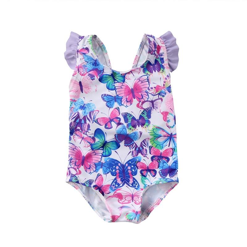 2018 Children Bikini One Piece New Baby Girl Flower Bowkn0t Bathing Suit Backless Swimwear Cute Kids Ruffles Swimming Swimsuit