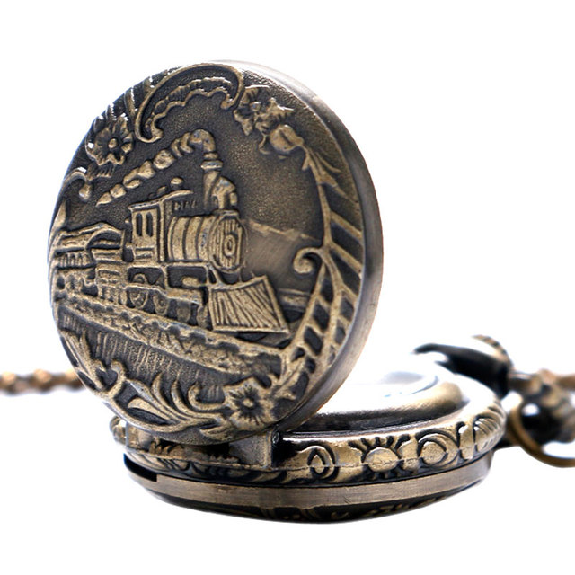 Small Dial Vintage Train Locomotive Pattern Quartz Necklace Pendant Pocket Watch Training Watch
