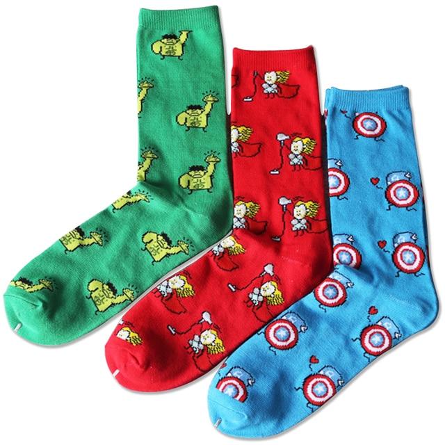 05be57c787b Marvel Comics Hero General Socks cartoon Iron Man Captain America Knee-High  Warm Stitching pattern Antiskid Casual Sock