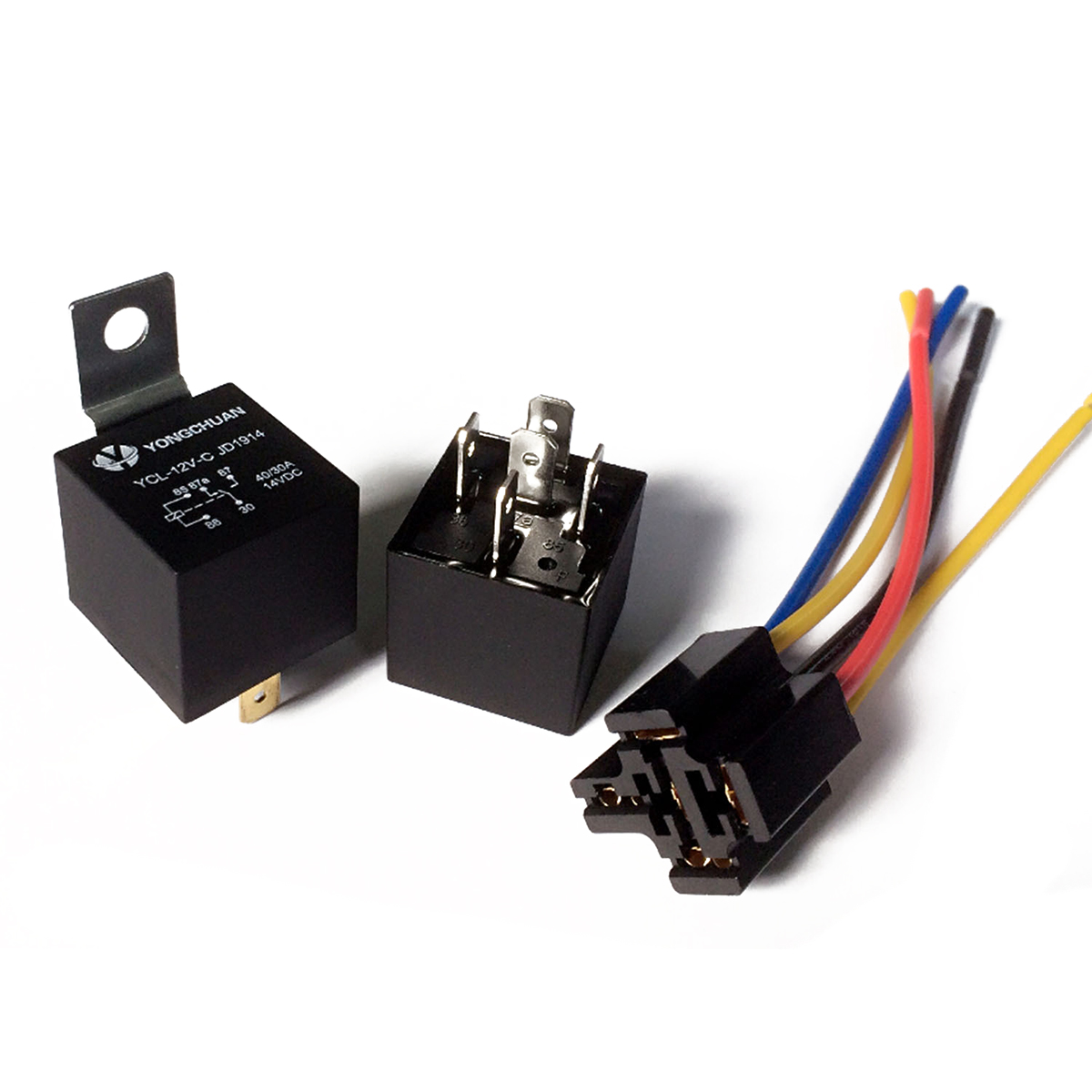 5 set 12v dc car relay 40a relay socket spdt 5 pin with 5 wires [ 1200 x 1200 Pixel ]