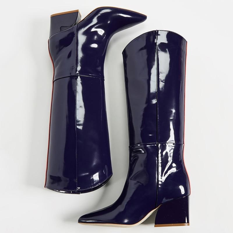 2018 Mezclados Colores Mujer Del Dedo Pie Tacones Charol De Zapatos otoño Ty01 Negro Y Slip Cuadrados Botas en Primavera Lluvia Alta Punta Rojo 1q4xxn8T