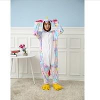 Winter Adult Women Blue Pink Yellow Star Unicorn Pajamas Cartoon Homewear Anime Rainbow Pajama Flannel Hooded