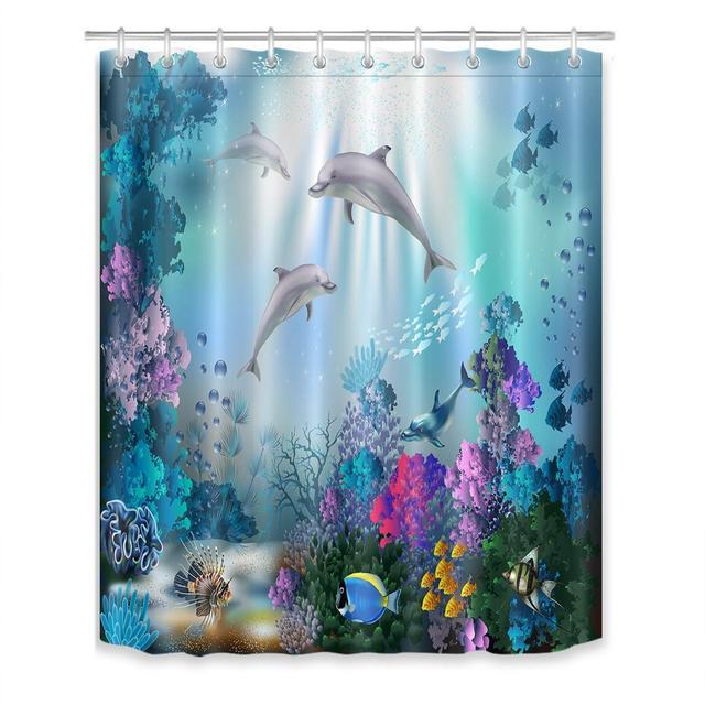Rideau De Douche Ocean Dauphin Corail Recif Rideaux Salle Bain Bleu Polyester Tissu Resistant A La Moisissure Impermeable Rideau Crochets