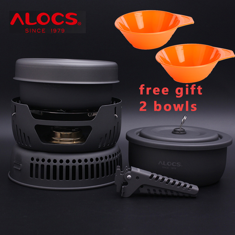 ALOCS 10 in 1 Alcohol Outdoor Portable travel tableware set camping Cookware bowl sets with pan gripper pot stove CW-C05 alocs cw k05 handy portable outdoor cooker pan pot w whisle lid deep grey green