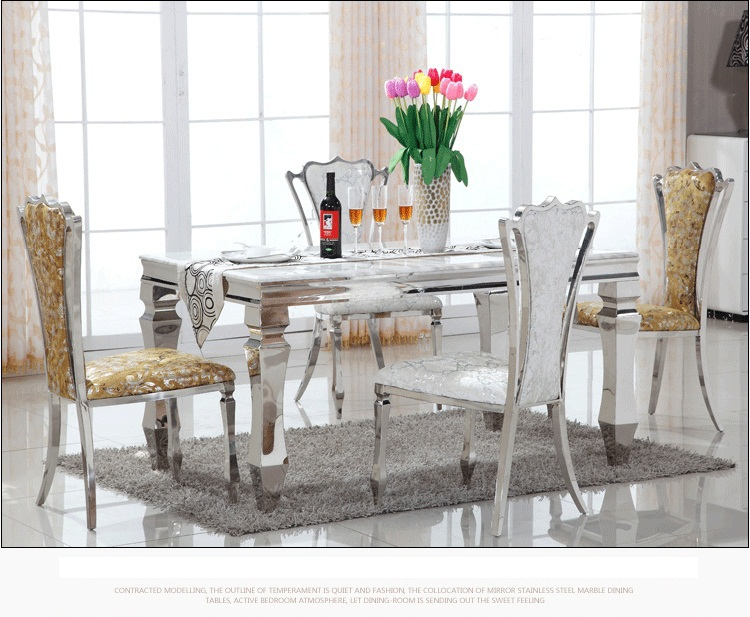 steel chair dining table christmas back covers kirklands marble top and room set stainless