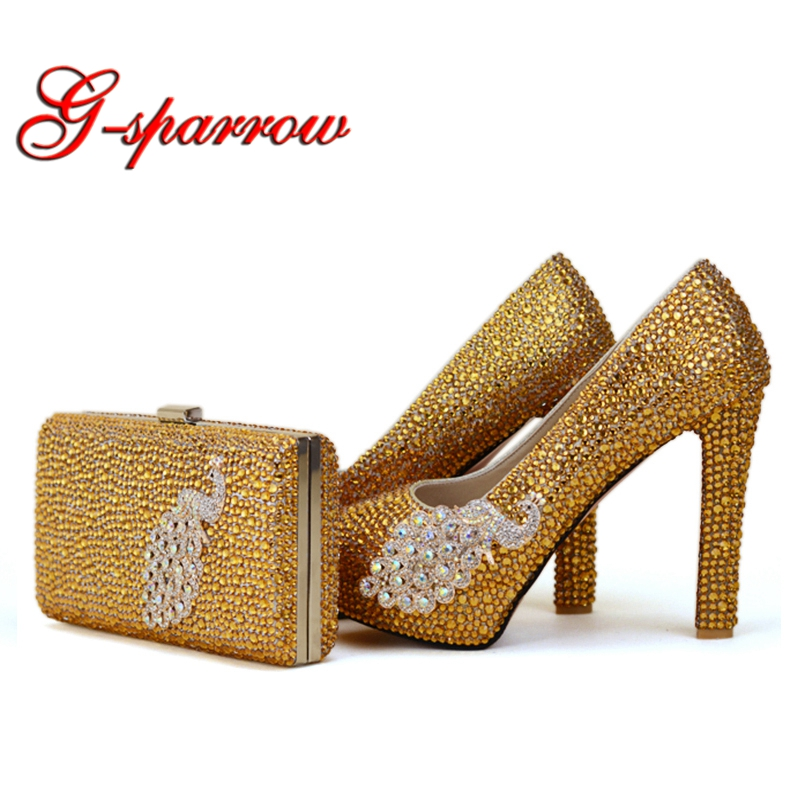 2018 Newest Designer Unique Phoenix Decoration Gold Rhinestine Shoes With Matching Bag Party Proms Bridal Wedding High Heels2018 Newest Designer Unique Phoenix Decoration Gold Rhinestine Shoes With Matching Bag Party Proms Bridal Wedding High Heels