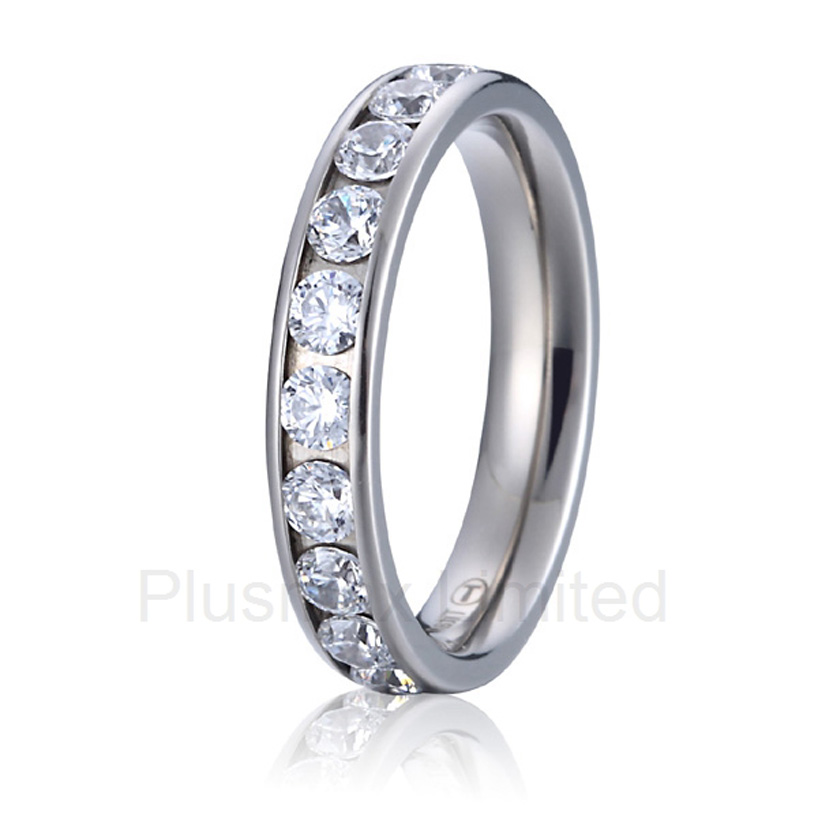 2016 China Manufacturer Chrismas gift for wife girlfriend pure titanium wedding band eternity rings