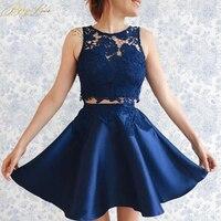 BeryLove двойка короткие темно синие Homecoming платье 2019 Мини кружево свадебные платья плюс размеры листьев форма выпускной