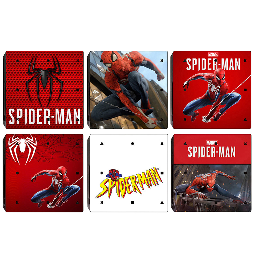 Spiderman Design Skin Sticker For Sony Playstation 4 Pro Console & 2PCS Controller Skin Decal For PS4 Pro Game Accessories