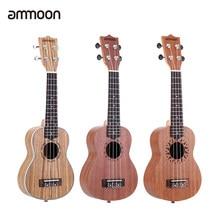 Ammoon-ukelele acústico de 21 pulgadas, 15 trastes, 4 cuerdas, instrumento Musical de cuerda