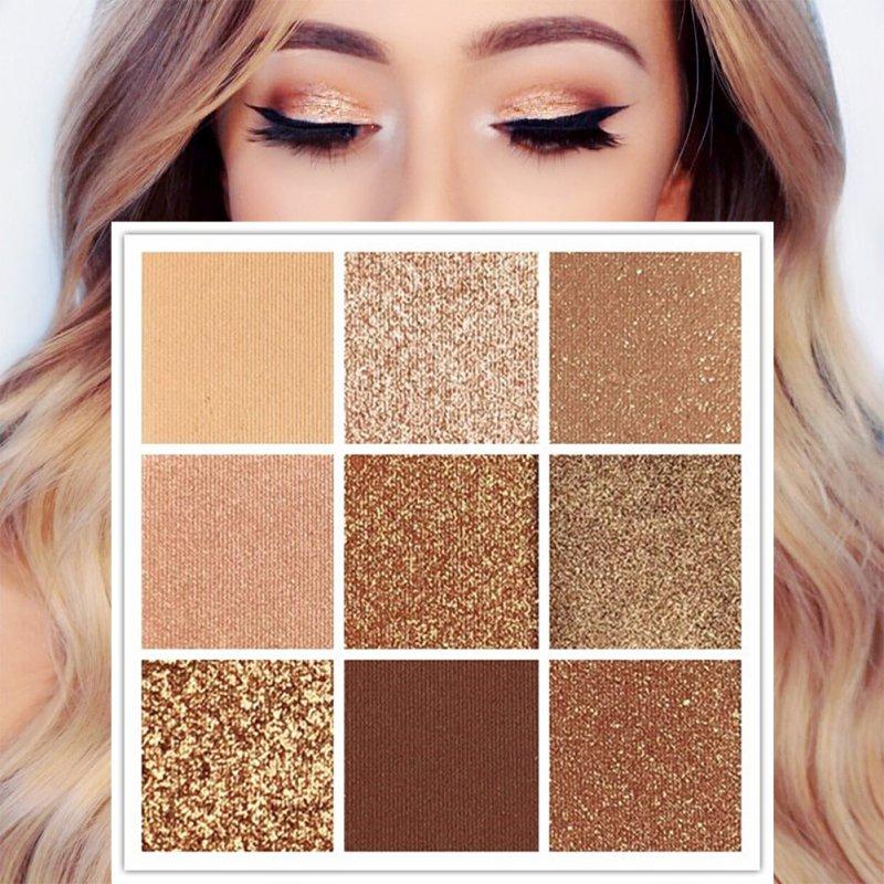 Eye shadow Charming Eyeshadow Pigment Palette Makeup Cosmetic Diamond Glitter Metallic 9 Color Eye Shadow Kit Q1 все цены