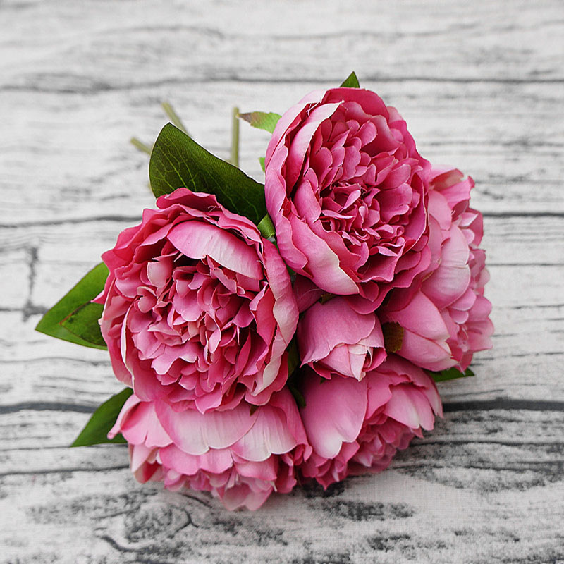 Silk Peony Stamens Bride Bouquet New Year Christmas Home Wedding