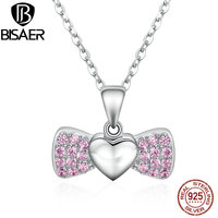 BISAER Authentic 100 925 Sterling Silver Bowknot Heart Wings Pink Pendant Necklaces Jewelry ECN073