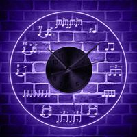 Drum Music Notes Theme Wall Clock With Color Changing LED Light Modern Wall Watch Home Decor For Living Room Unique Gift