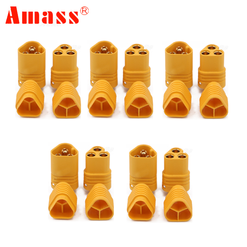 20 pair lot brushless motor high quality banana plug 3 0mm 3mm gold bullet connector plated for esc battery 5pair/lot  AMASS MT60 3.5mm 3 pole Bullet Connector Plug Set For RC ESC to Motor