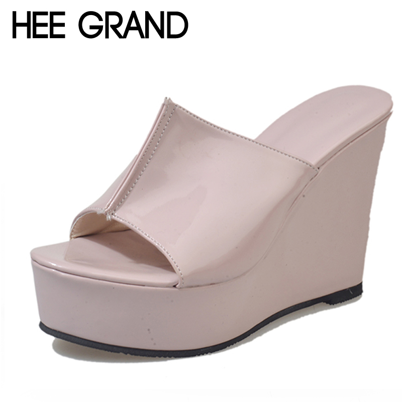 HEE GRAND Summer Rubber Sandals 2018 Beach Wedges Slides Slip On Casual Creepers Platform Shoes Woman Sweet Slippers XWT1056 hee grand 2017 creepers summer platform gladiator sandals casual shoes woman slip on flats fashion silver women shoes xwz4074