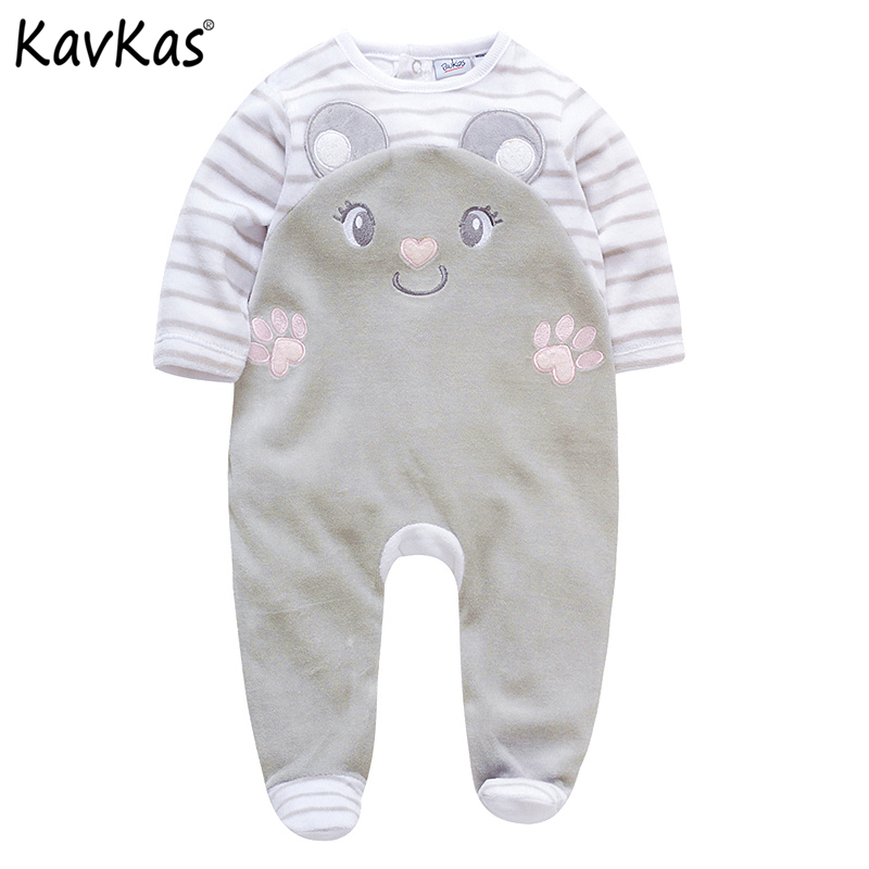 Kavkas 2018 Baby Girls Rompers Long Sleeve bebes O-Neck Clothing 0-24M Winter Velvet Newborn Pajamas Baby Clothes roupa de bebe