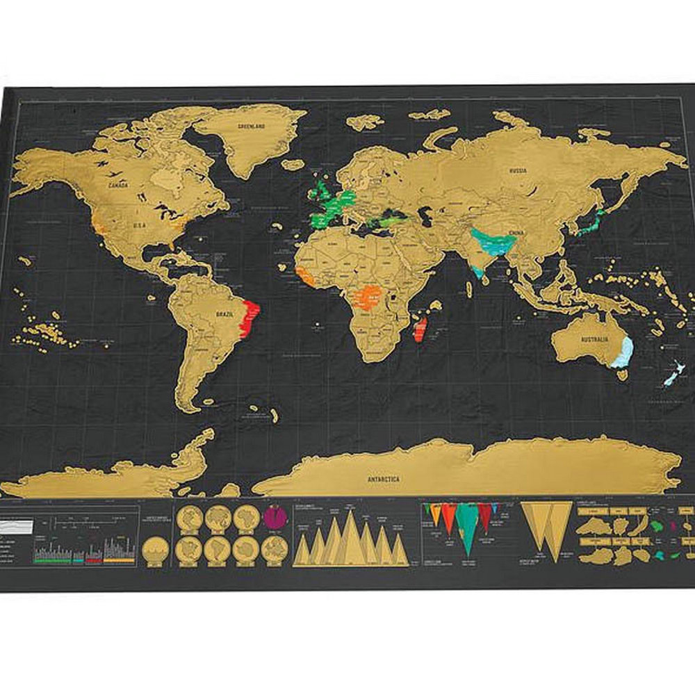 New Deluxe Travel Edition Scratch Off World Map Po...