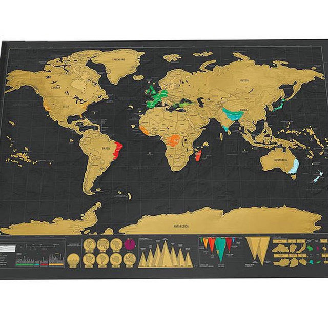 New Deluxe Travel Edition Scratch Off World Map Poster Personalized Journal Big Map 82.5x59.4cm