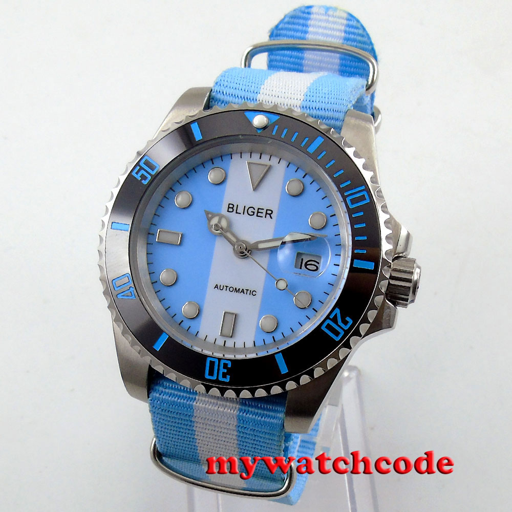 40mm bliger blue & white dial sapphire crystal automatic movement mens watch 155 цена и фото