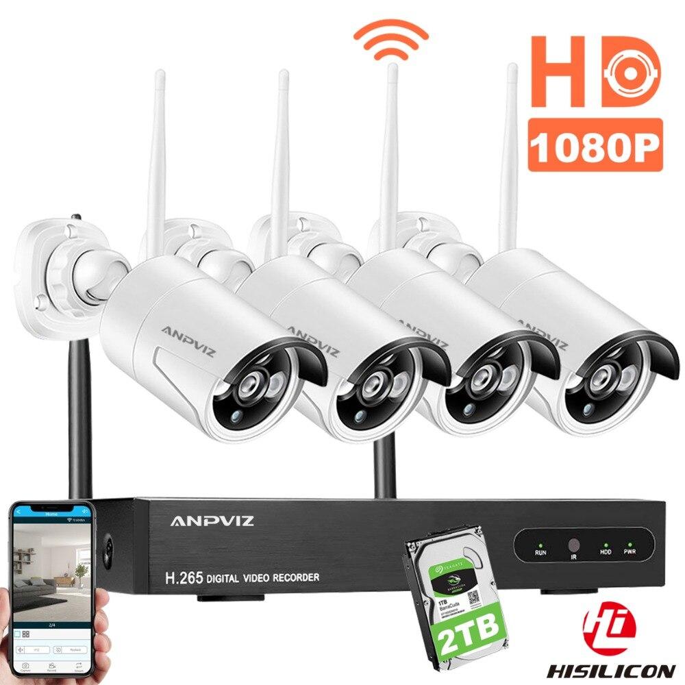 Anpviz CCTV Système de Caméra Sans Fil HD 4CH 1080 p NVR Wifi Caméra Kit Vidéo Surveillance Maison Intelligente de Sécurité IP Cam ensemble En Plein Air
