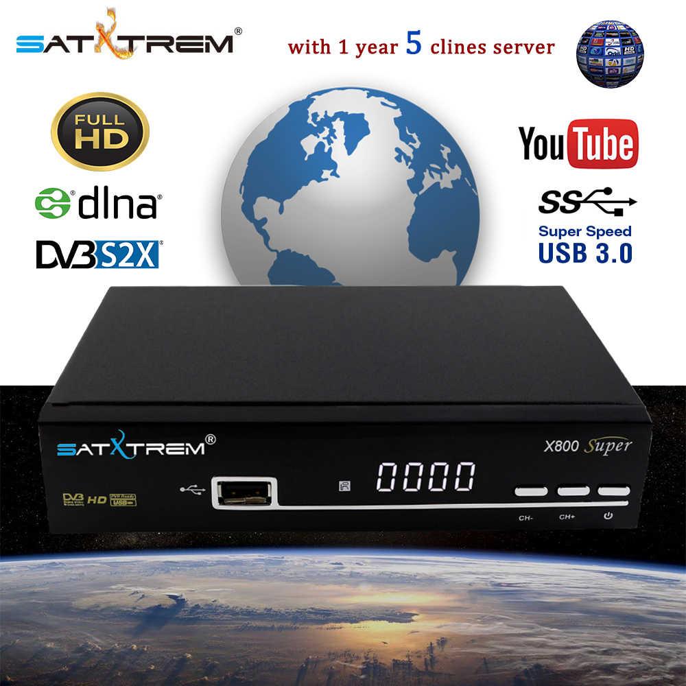 Satxtrem X800 スーパー DVB-S2 衛星放送受信機 8 ライン cccam サーバ 1 年デジタル 1080 1080p hd テレビチューナー内蔵無線 lan 受信機
