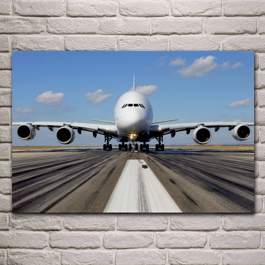 A380 airliner plane airplane transport blue sky living room decoration home wall art decor wood frame fabric poster QX013 image
