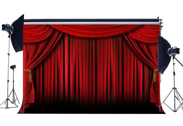 Kırmızı Perde Zemin Fotoğrafçılık için Okul Gösterisi İç Tiyatro Dekorasyon Duvar Kağıdı Hollywood Arka Plan