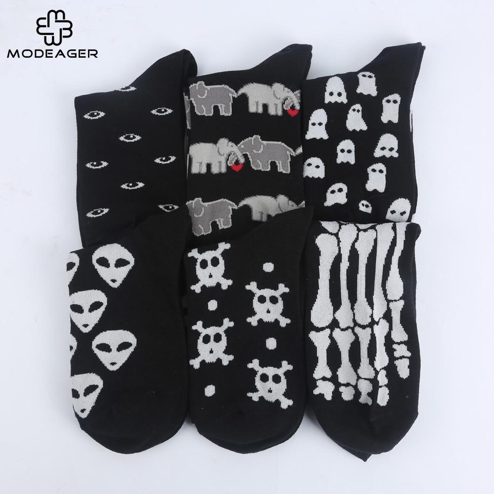 Modeager Fashion Hip hop Black Color Skeleton Alien Halloween Cool Women   Socks   Cotton Soft Summer Thin Novelty   Socks   for Women