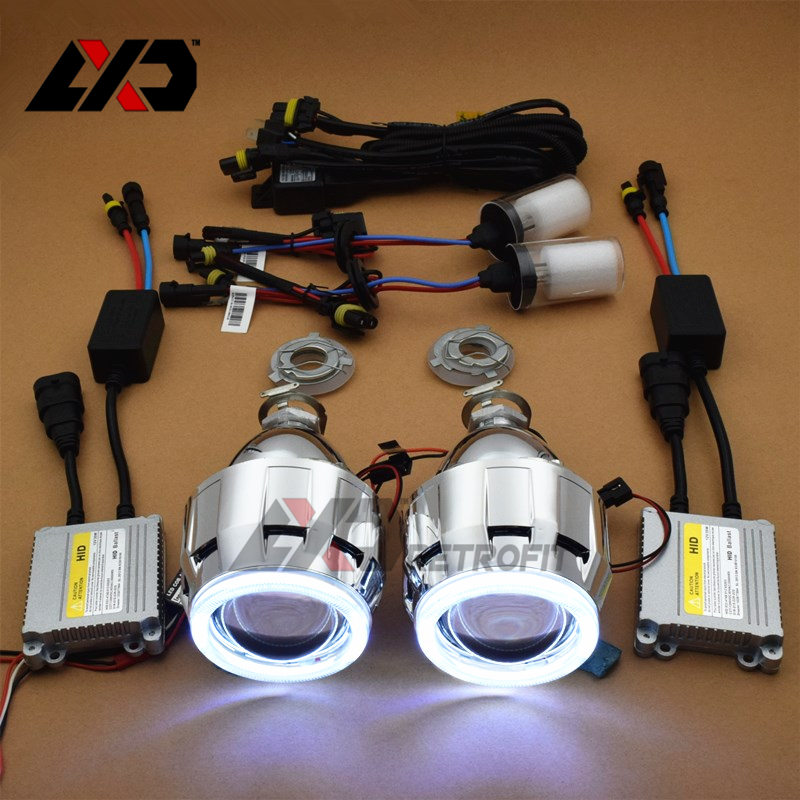 LXD HID Mini COB LED Angel Eyes DRL Bi xenon Car Projector Lens Headlight Xenon Kit H1 H4 H7 9005 9006 Headlamp Retrofit DIY  car styling automobiles 3 0 metal bi xenon hid lens with led cob drl angel eyes for projector headlight h1 h4 h7