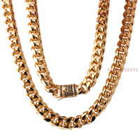 15mm8 40 Brand New Mens Popular Design Gold Tone Stainless Steel Curb Chain Necklace Or Bracelet
