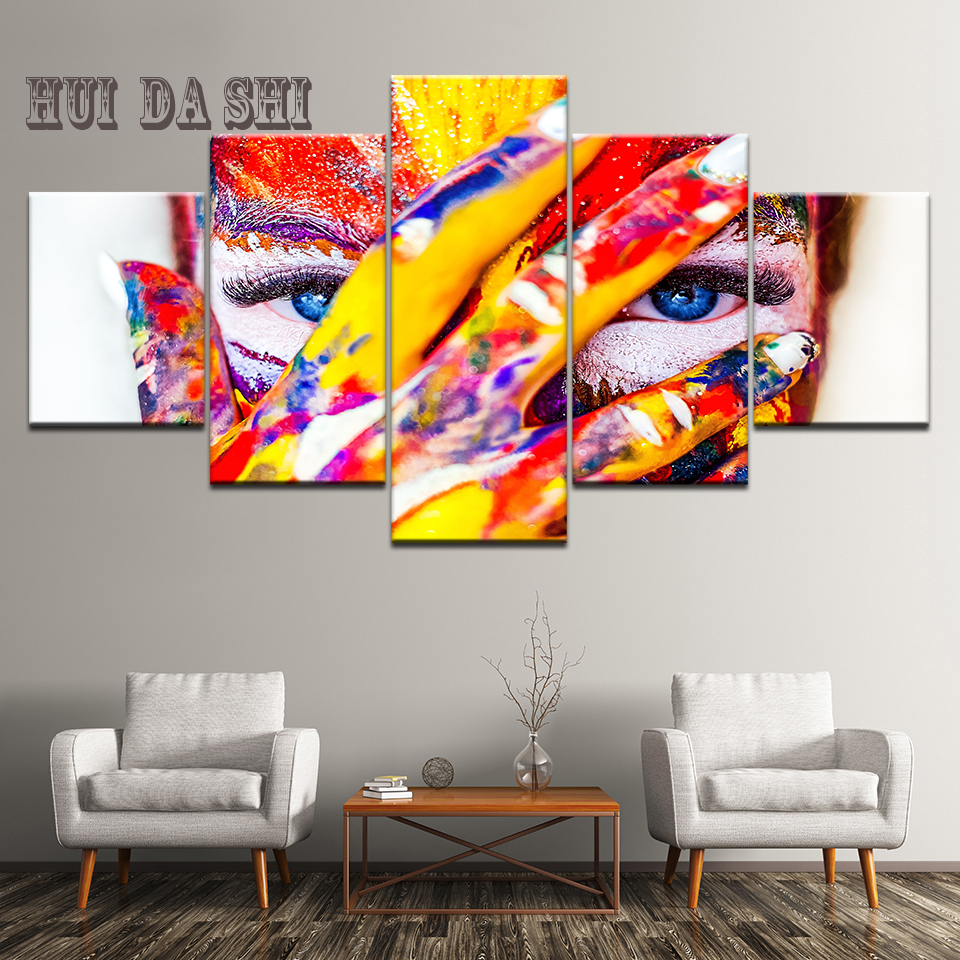 Canvas Wall Art Paintings Home Decor 5 Pieces Abstract Watercolor Girl Face Flower Hair Pictures Modular HD Prints Poster Framed