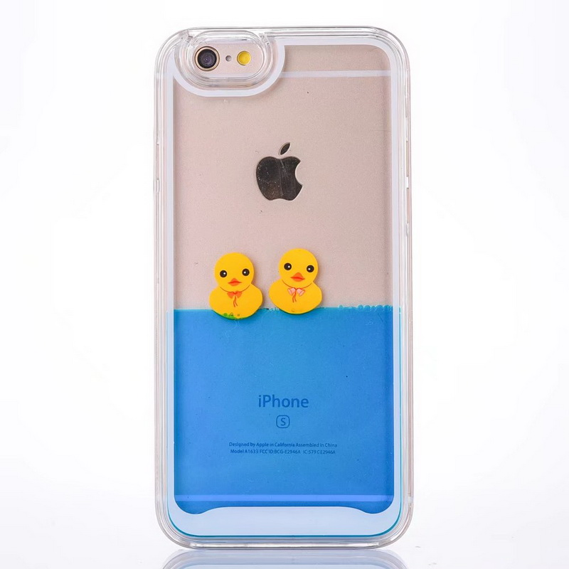For iPhone <font><b>X</b></font> Swimming Duck Glitter Case Dynamic Liquid TPU PC Cover For iPhone 7 Plus <font><b>8</b></font> Plus 6 6S Plus Yellow Duck Water Pattern