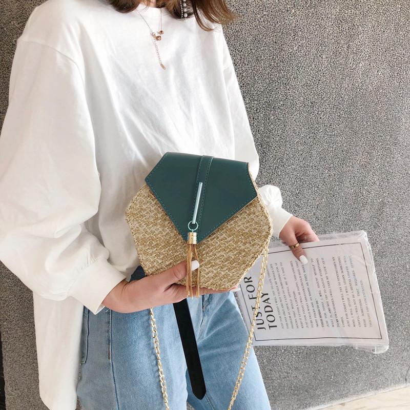 Hexagon Mulit Style Straw+leather Handbag Women Summer Rattan Bag Handmade Woven Beach Circle Bohemia Shoulder Bag New Fashion 3
