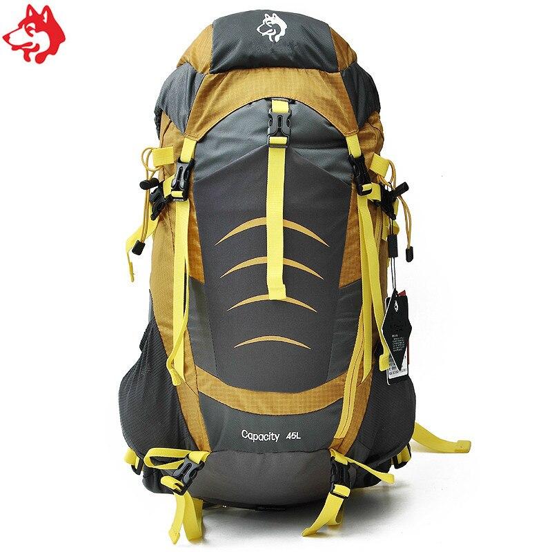 En gros 45L Bleu/Jaune/Bourgogne équipement de plein air Voyage sac à dos sac en nylon randonnée camping sac à dos