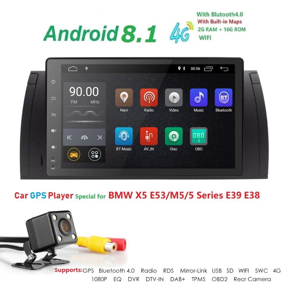 Hizpo 9 pouces 1024x600 HD écran tactile 1 din Android 7.1 voiture multimédia Radio stéréo pour BMW E39 E53 X5 Wifi 3G Bluetooth DVR RDS - 2